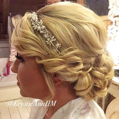 Beautiful romantic updo with the right amount of bling!!!  Hair: www.krystieann.com  Venue: Kukua Beach Club Punta Cana