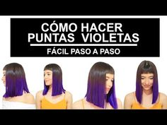 Cómo hacer las puntas violetas fácil paso a paso /BETTY LAZCANO - YouTube Color Fantasia, Beautiful, Instagram, Youtube, Violets, Dyes, Step By Step, How To Make, Hair