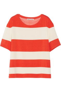 Orange striped tee. This color is a nice pop for warmer weather.