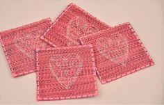 4 Eco Coasters Embroidered Lacy Hearts by TheBuckeyeandtheFrog
