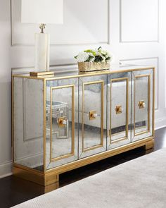 Shop Felix Four-Door Mirrored Console from John-Richard Collection at Horchow, where you'll find new lower shipping on hundreds of home furnishings and gifts. Mirrored Furniture, Rustic Furniture, Luxury Furniture, Home Furniture, Furniture Design, Outdoor Furniture, Antique Furniture, Furniture Cleaning, Furniture Removal