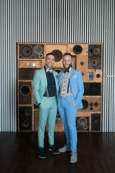 Pastel suits & a surprise drag show at this two groom fête in Chicago   Offbeat Bride
