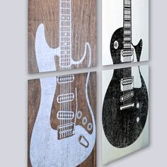 "A perfect gift for music lovers, this custom 3 panel wall art is perfect for any office, game room, man cave, child's room, music room or studio.  The artwork comes as 3 separate square 12"" x 12"" printed panels that measures 12"" x 36"". These 2 inch thick panels have a hollow back that allows space to fill with insulation or sound dampening materials for awesome looking art that can serve a purpose."