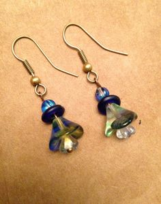 Blue Green Floral Earring by TripIntoLight on Etsy