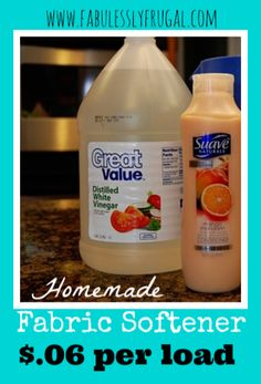 Homemade DIY fabric softener recipe.  This is so easy and fast to make and it works great!  Step by step instructions with pictures!  I love to put some essential oils in it too.  www.FabulesslyFrugal.com