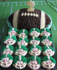 Football cake and cupcake.
