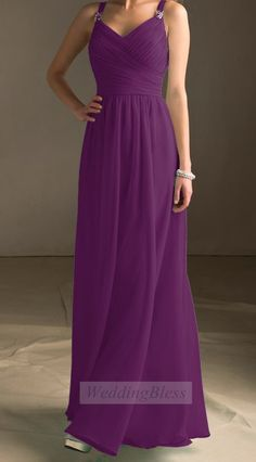 Bright Light Purple Bridesmaid Dress Chiffon A-line Long Dress with straps on Etsy, £78.11