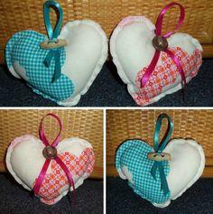 Met dat saaie weer maak je jezelf maar nuttig met creatieve cadeautjes maken! Zoals deze stoffen hartjes. 2 x een hartje op stof tekenen, op elkaar naaien, klein stukje open laten. Met zachte vulling vullen, bovenkant dichtnaaien met de hand, lintje eraan en een knoopje. Schattig toch om zomaar aan iemand te geven..........