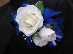 Corsage and matching boutonniere in white by AlwaysElegantBridal