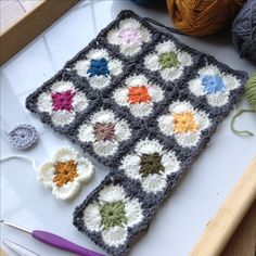 Little granny squares inspired by Orla Kiely.