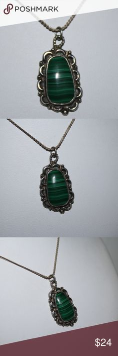 Vintage Sterling Malachite necklace sterling silver chain is 20 inches long Beautiful malachite pendant!  Buy from me with confidence! I have sold over 500 items with a 5 star rating! If you have any questions, do not hesitate to ask.  Looking at a few things in my shop? Put a bundle together, comment on an item that you are ready to check out and let me send you an even better offer!  Thank you for visiting :) Free gifts with every purchase! Jewelry Necklaces