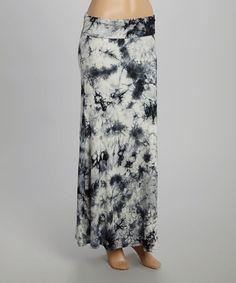 Another great find on #zulily! Black & White Tie-Dye Maxi Skirt #zulilyfinds