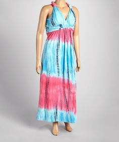 Look what I found on #zulily! Pink & Blue Tie-Dye Empire-Waist Maxi Dress - Plus by Shoreline #zulilyfinds