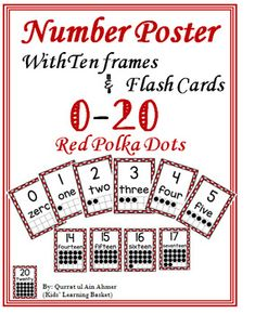 Number Posters with Ten Frames and Flash Cards---Bright Red Polka Dots Preschool Math, Kindergarten, Polka Dot Numbers, Number Posters, Number Words, Page Number, Ten Frames, Numeracy, Math Centers