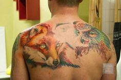 Watercolor fox and owl tattoos by CATA