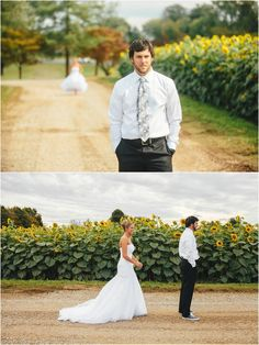 Wedding first look in a Sunflower Field. Click to view more!