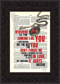 Adele Someone Like You  Song Lyrics print on upcycled Vintage Page