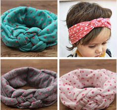 Baby Girls Headband Knot Hair Band with Dots Printing
