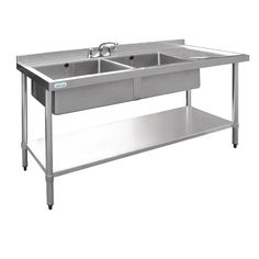 Vogue Stainless Steel Sink Double Bowl with Right Hand Drainer 1500mm - U905