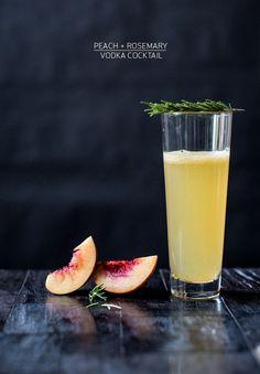 peach, rosemary cocktail