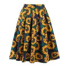 Sunflower Print High Waist Skirt (4.360 HUF) ❤ liked on Polyvore featuring skirts, high-waisted skirts, high-waist skirt, sunflower skirt, high rise skirts and high waisted skirts
