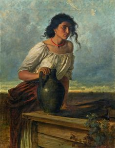 Artist : Carl Leopold Müller (German, 1834 - Title : Young Gypsy woman at the well Medium : oil on canvas Dimensions : 100 x 75 cm. Classic Paintings, Old Paintings, Beautiful Paintings, Rennaissance Art, Mode Poster, Virtual Art, Renaissance Paintings, Victorian Art, Classical Art