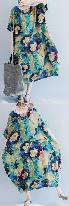 US$22.99 Vintage Loose Lotus Printed Short Sleeves O Neck Dresses
