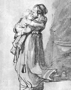 """Saskia With A Child"" ... by Rembrandt - pen and wash 1636"