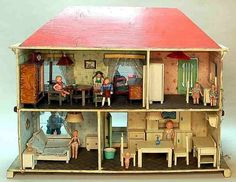 Puppenhäuser älter Antique Dollhouse, Dollhouse Dolls, Antique Dolls, Barbie Furniture, Dollhouse Furniture, Vintage Stuff, Doll Houses, Alter, German