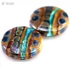 Lampwork Beads Abalone Button Duo Handmade Glass Goodness for your Inspired Designs