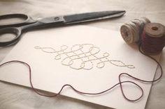 Calligraphy Flourish Hand-stitched 5x7 Framable Art