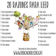 20 razones para leer I Love Books, Books To Read, My Books, Visual Metaphor, Grammar Book, Ap Spanish, Reading Quotes, Lectures, Reading Activities