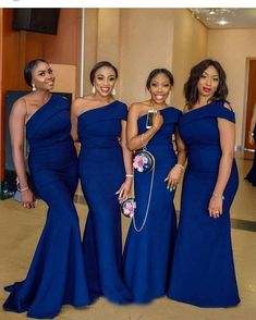 Mermaid One Shoulder Bridesmaid Dresses 2019 Royal Blue Stain African Women  Long Maid Of Honor Dress from MychicDress 11a449fe3f40