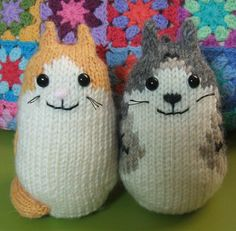 Free Knitting Pattern for Brownie the Cat - Barbara Kobayashi created these soft round kitties perfect for customizing to look like your feline friends. Pictured project by knittypocket
