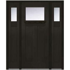 MMI Door 64 In. X 80 In. Craftsman Left Hand 1 Lite Clear Stained  Fiberglass Fir Prehung Front Door With Shelf And Sidelites