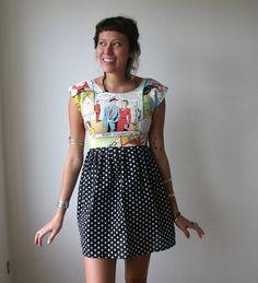 Comic Book Polka Dot Mini Dress Sz XS S M L. $68.00, via Etsy.