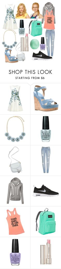 """Liv and Maddie inspired outfits"" by alex2115 ❤ liked on Polyvore featuring ERIN Erin Fetherston, Michael Kors, OPI, NIKE, Disney, JanSport, By Terry and Eos"