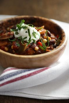 You know those days where you have a bunch of random vegetables in the fridge? The simple solution to using them all is this vegetarian chili loaded with zucchini, tomatoes, corn, and a ton of other pantry staples.