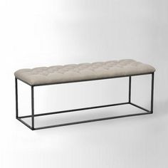 Seating - Tufted Bench - Flax   west elm - tufted bench, iron based tufted bench, modern iron bench with tufted seat,