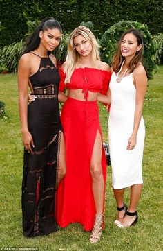 Black, white and red all over: The star was joined by fellow model Chanel Iman and actress...