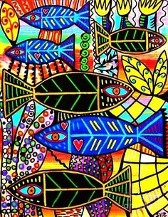 fish paintings abstract   Fish Painting by Sandra Silberzweig - Citrine Coral Fish Fine Art ...