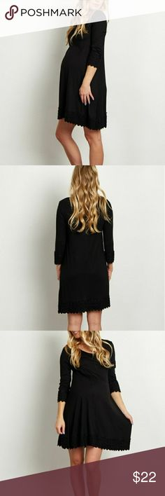 "Black Maternity Dress 3/4 Sleeve ""This solid maternity tunic/dress is the perfect versatile essential. A pretty lace trim will give you an always feminine look for any occasion."" Pinkblush Dresses"