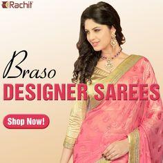 Buy splendid braso designer saree in peach color at RachitFashion.  #braso #sarees #peach #fashion #fashiontrends