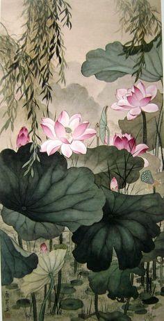 1481121327452137485 Watercolor Lotus, Lotus Painting, Japanese Painting, Chinese Painting, Vintage Illustration Art, Lotus Art, Art Japonais, China Art, Japan Art