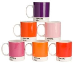 Lot de 6 Mugs Pantone en Porcelaine couleur Rouge et Rose