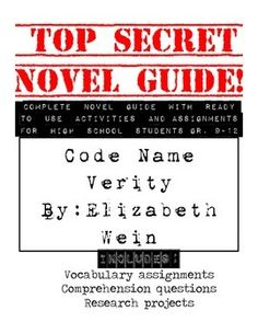 31 pages of teaching tools for Code Name Verity. Vocabulary lists and worksheets, charts to keep track of characters and allusions, and comp...