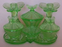RARE 1930's Art Deco Vaseline Glass Butterfly Motif Green Depression Vanity Set | eBay