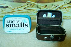 A Small Hearts Desire: Miniature leather suitcase from Altoids cases