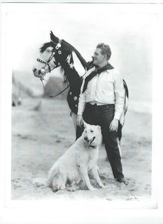 Back of the photo states: MAN, HORSE AND DOG...Nelson Eddy, Metro-Goldwyn-Mayer star, frolicking at the beach with his horse and white police dog - ESCANO COLLECTION