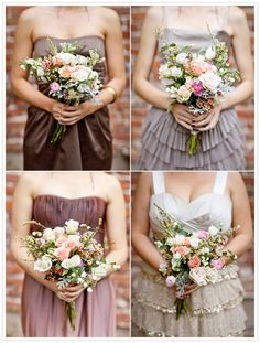 mismatched bridesmaid dresses in neutral and muted colors... Love!
